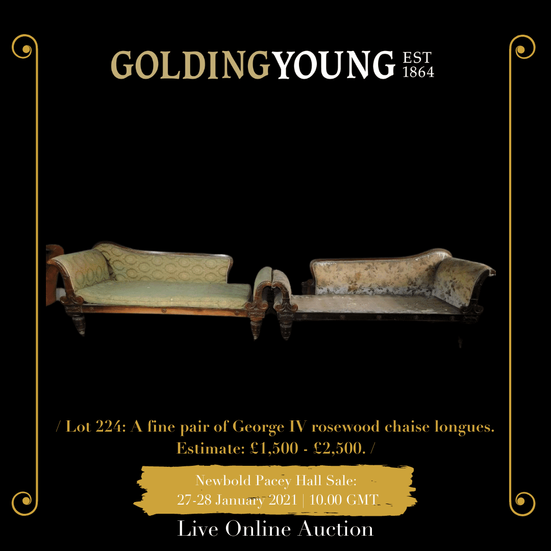A fine pair of George IV rosewood chaise longues