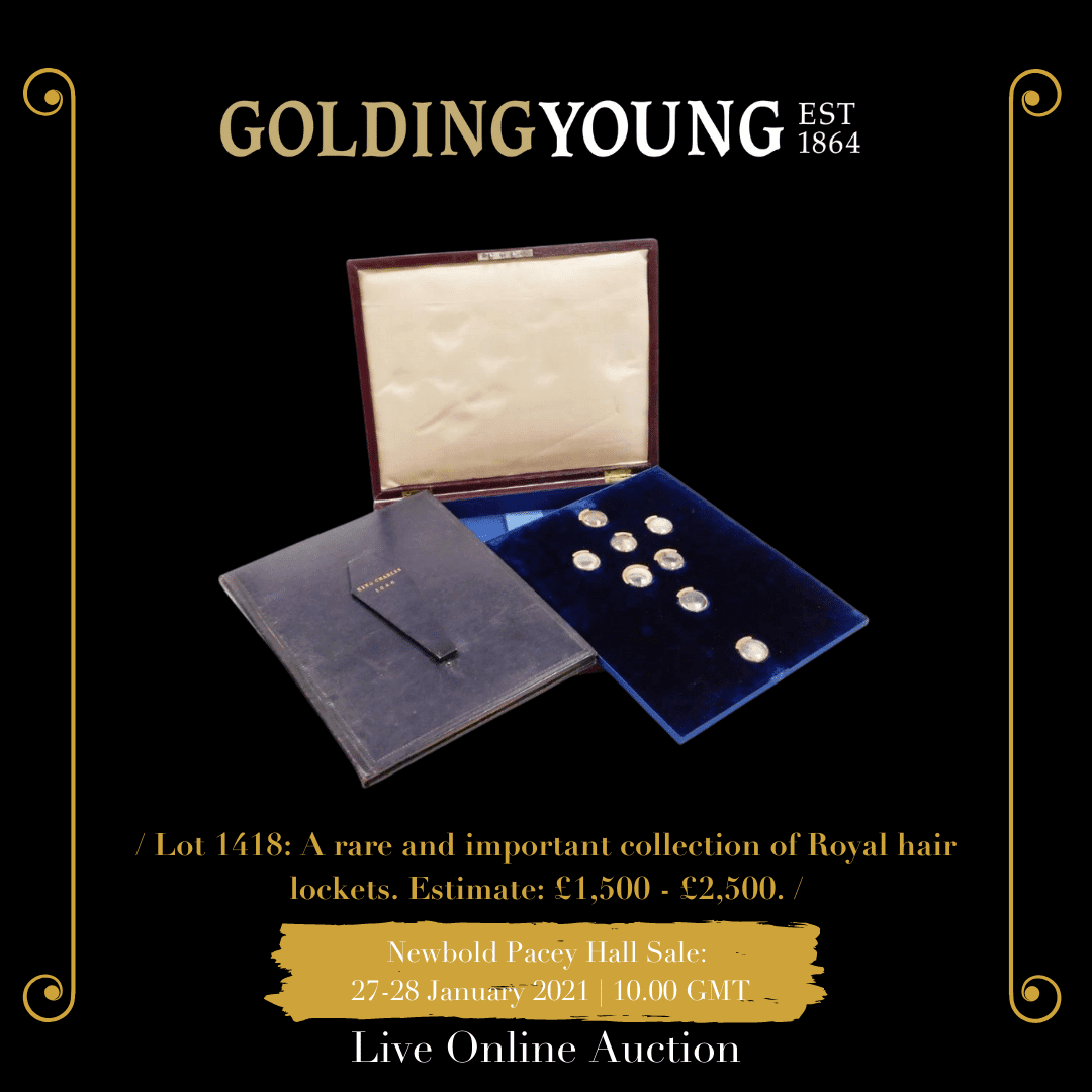A rare and important collection of Royal hair lockets, together with an account of the opening of the coffin of King Charles I in 1813, the seven hinged gold (unmarked) and glass lockets each bearing a name tab and a locket of hair for: Edward IIII, George II, George III, Queen Charlotte, Ernest King of Hanover, George IIII, William IIII and The Duke of Wellington